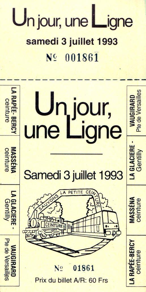billet navette du train spécial 03/07/1993