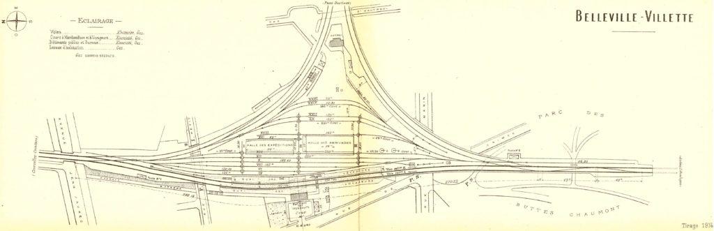 Plan gare Belleville Villette Petite Ceinture