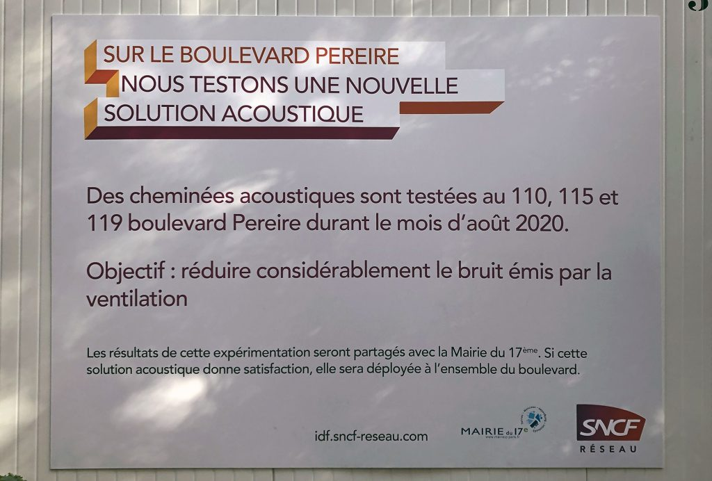 Affiche annonçant la pose des cheminées silencieuses le 12/08/2020