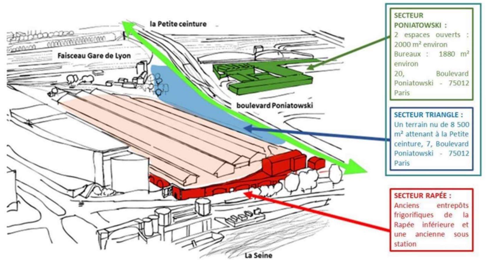 Carte de la zone de l'appel à projets Bercy-Charenton