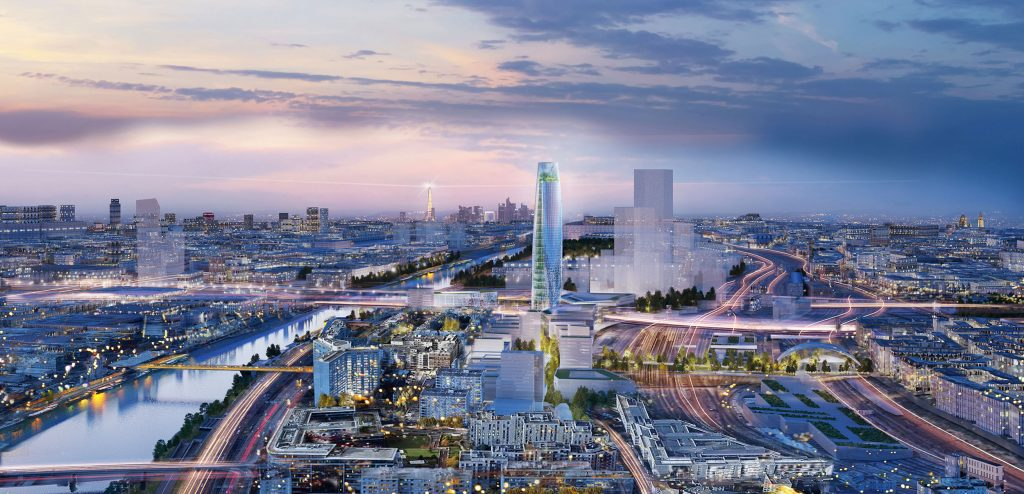 Perspective aérienne du futur quartier (vue d'artiste)
