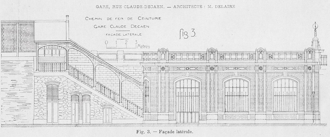 Plan bâtiment voyageurs et escalier vers quai extérieur gare rue Claude Decaen Petite Ceinture